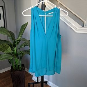 Lush aqua blue v-neck sleeveless blouse size M